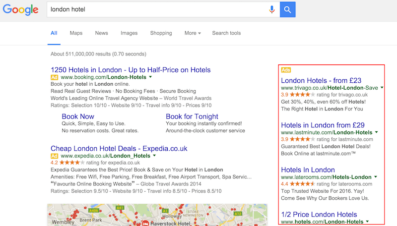 london-hotel-Google-Search-with-right-hand-side-ads